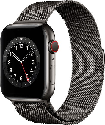 Apple Watch 6 rustfritt stål grafitt Milanese 44mm