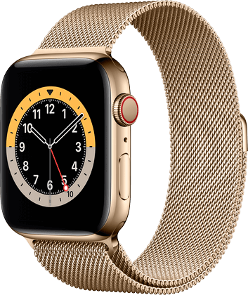 Apple Watch 6 rustfritt stål gull Milanese 44mm